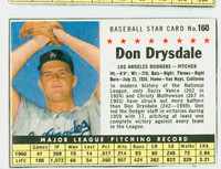 1961 Post Baseball 160 b Don Drysdale COMP  Los Angeles Dodgers Excellent to Mint