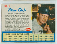 1962 Post Baseball 14 b Norm Cash THR LEFT  Detroit Tigers Very Good to Excellent