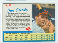 1962 Post Baseball 27 Jim Gentile BALT  Baltimore Orioles Excellent to Mint