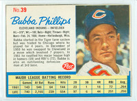 1962 Post Baseball 39 Bubba Phillips Cleveland Indians Excellent