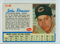 1962 Post Baseball 42 John Romano Cleveland Indians Very Good to Excellent