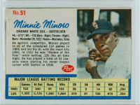 1962 Post Baseball 51 Minnie Minoso Chicago White Sox Excellent