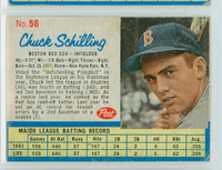 1962 Post Baseball 56 Chuck Schilling Boston Red Sox Very Good