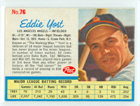 1962 Post Baseball 76 Eddie Yost Los Angeles Angels Excellent to Mint