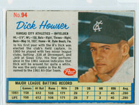 1962 Post Baseball 94 Dick Howser Kansas City Athletics Excellent