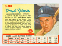 1962 Post Baseball 103 Daryl Spencer Single Print Los Angeles Dodgers Excellent