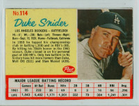 1962 Post Baseball 114 Duke Snider Los Angeles Dodgers Excellent