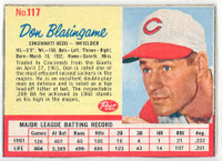1962 Post Baseball 117 Don Blasingame Cincinnati Reds Excellent to Mint