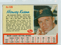 1962 Post Baseball 135 Harvey Kuenn San Francisco Giants Very Good
