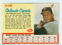 1962 Post Baseball 136 Orlando Cepeda San Francisco Giants Excellent to Mint