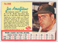 1962 Post Baseball 144 Joe Amalfitano Single Print San Francisco Giants Excellent to Mint