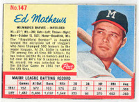 1962 Post Baseball 147 Ed Mathews Milwaukee Braves Excellent to Mint
