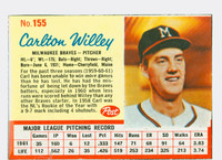 1962 Post Baseball 155 Carlton Willey Milwaukee Braves Excellent