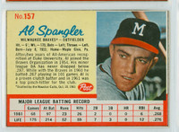 1962 Post Baseball 157 Al Spangler Milwaukee Braves Very Good to Excellent