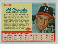 1962 Post Baseball 157 Al Spangler Milwaukee Braves Excellent