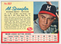 1962 Post Baseball 157 Al Spangler Milwaukee Braves Excellent to Mint