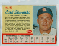 1962 Post Baseball 162 Carl Sawatski St. Louis Cardinals Excellent to Mint