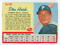 1962 Post Baseball 171 Don Hoak Pittsburgh Pirates Excellent to Mint