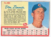 1962 Post Baseball 183 Don Zimmer Chicago Cubs Excellent to Mint