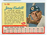 1962 Post Baseball 191 Jerry Kindall Chicago Cubs Excellent to Mint