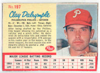 1962 Post Baseball 197 Clay Dalrymple Philadelphia Phillies Excellent to Mint