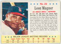 1963 Post Baseball 28 b Leon Wagner AVG 272  Los Angeles Angels Excellent to Mint