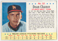 1963 Post Baseball 32 Dean Chance Los Angeles Angels Excellent to Mint