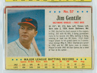 1963 Post Baseball 57 Jim Gentile Baltimore Orioles Very Good