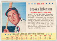 1963 Post Baseball 59 Brooks Robinson Baltimore Orioles Excellent
