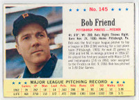 1963 Post Baseball 145 Bob Friend Pittsburgh Pirates Excellent