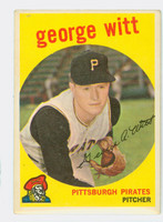 1959 Topps Baseball 110 George Witt Pittsburgh Pirates Excellent