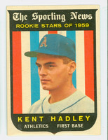 1959 Topps Baseball 127 Kent Hadley ROOKIE Kansas City Athletics Excellent