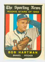 1959 Topps Baseball 128 Bob Hartman ROOKIE Milwaukee Braves Excellent