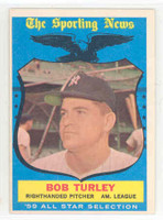 1959 Topps Baseball 570 Bob Turley AS High Number New York Yankees Excellent to Excellent Plus