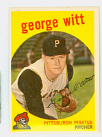 1959 Topps Baseball 110 George Witt Pittsburgh Pirates Excellent to Mint