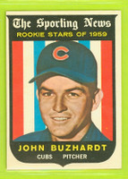 1959 Topps Baseball 118 John Buzhardt ROOKIE Chicago Cubs Excellent to Mint