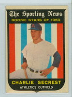 1959 Topps Baseball 140 Charlie Secrest ROOKIE Kansas City Athletics Excellent to Mint