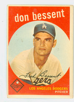 1959 Topps Baseball 71 Don Bessent Los Angeles Dodgers Very Good
