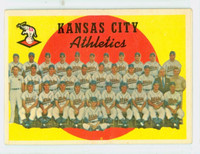 1959 Topps Baseball 172 Athletics Team Very Good to Excellent