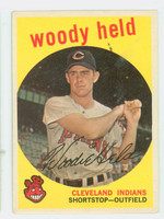 1959 Topps Baseball 266 Woddy Held Cleveland Indians Very Good