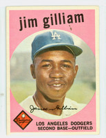 1959 Topps Baseball 306 Jim Gilliam Los Angeles Dodgers Very Good to Excellent