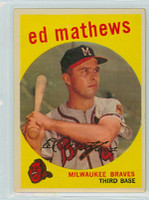 1959 Topps Baseball 450 Ed Mathews Milwaukee Braves Very Good to Excellent