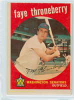 1959 Topps Baseball 534 Faye Throneberry High Number Washington Senators Very Good to Excellent
