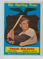1959 Topps Baseball 558 Frank Malzone AS High Number Boston Red Sox Very Good