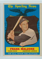 1959 Topps Baseball 558 Frank Malzone AS High Number Boston Red Sox Very Good to Excellent