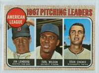 1968 Topps Baseball 10 b AL Pitching Leaders LONBORG  Near-Mint Plus