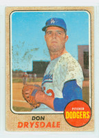 1968 Topps Baseball 145 Don Drysdale Los Angeles Dodgers Fair to Poor