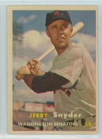 1957 Topps Baseball 22 Jerry Snyder Washington Senators Excellent to Excellent Plus