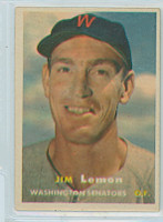 1957 Topps Baseball 57 Jim Lemon Washington Senators Excellent
