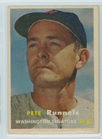 1957 Topps Baseball 64 Pete Runnels Washington Senators Very Good to Excellent